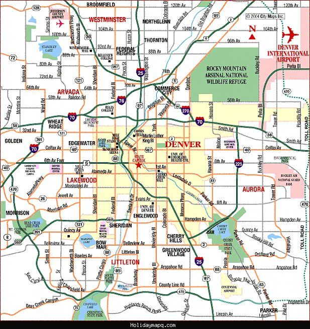 nice Denver Map Tourist Attractions Holidaymapq Pinterest