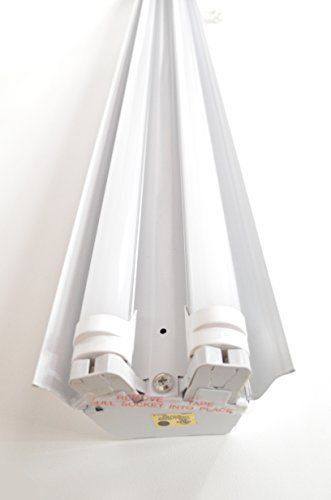 White 4 Foot 2 Light Shoplight With 2x Led T8 24 Watt Tubes