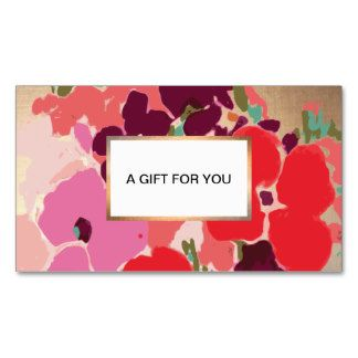 Colorful Artistic Hand Drawn Floral Gold Gift Card Double-Sided Standard Business Cards (Pack Of 100)