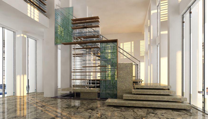 Design  Cittadini des Déserts   Projet pour le hall du0027accueil et - escalier interieur de villa