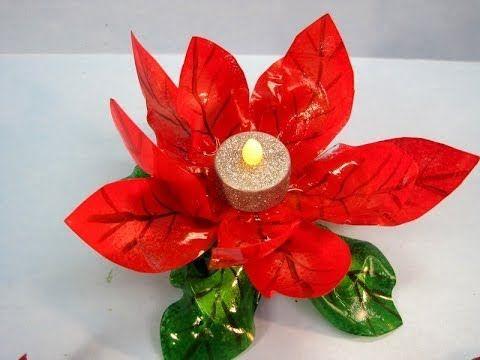Poinsettia Plastic Bottle Flowers Plastic Bottle Crafts Plastic Crafts