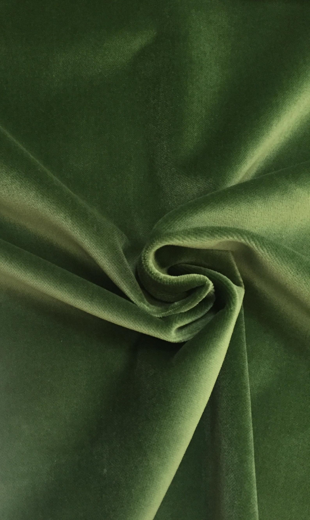 Solid Green Velvet - Upholstery Fabric by The Yard