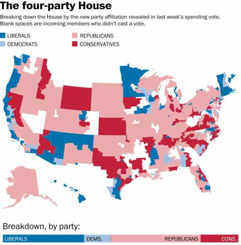 What would happen if Congress split into four parties?