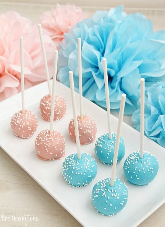 These Pink And Blue Cake Pops Are Easy To Serve At A Baby Shower And