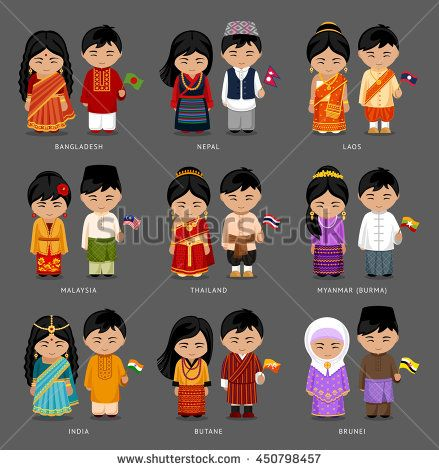 615bed1a9 Burma (Myanmar), Brunei, Bhutan, Bangladesh, India, Nepal, Thailand,  Malaysia, Laos. Set of asian pairs dressed in traditional costume. National  clothes.