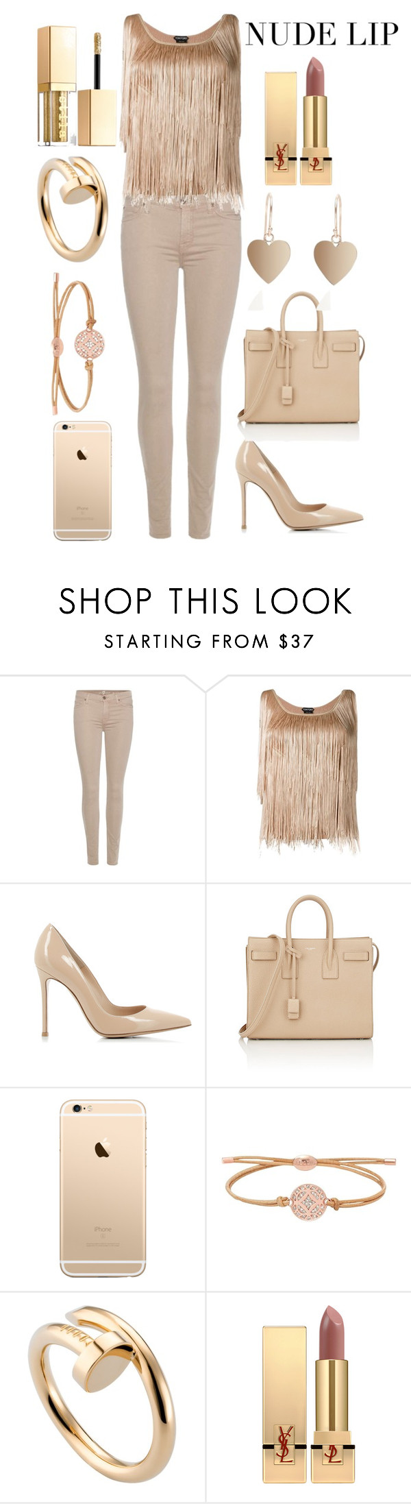 """nude lip"" by priyaarun ❤ liked on Polyvore featuring beauty, 7 For All Mankind, Tom Ford, Gianvito Rossi, Yves Saint Laurent, FOSSIL, Cartier and Stila"