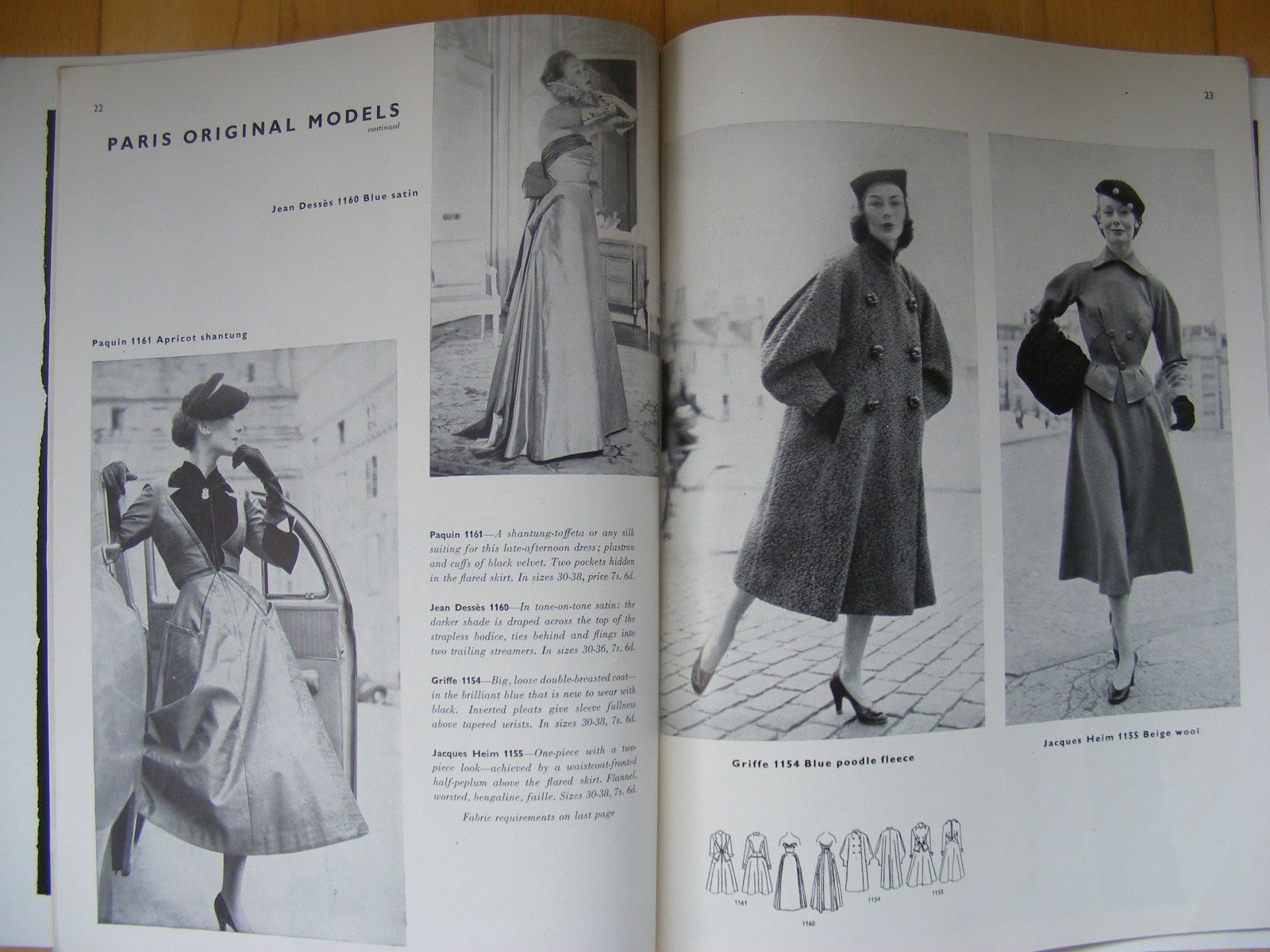Vogue Pattern Book, December-January 1951-1952 featuring Vogue 1161 by Paquin and 1160 by Jean Dessès on the left page, 1154 by Jacques Griffe and 1155 by Jacques Heim