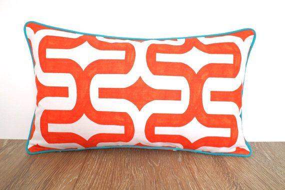 Orange pillow cover 20x12 geometric cushion modern by anitascasa