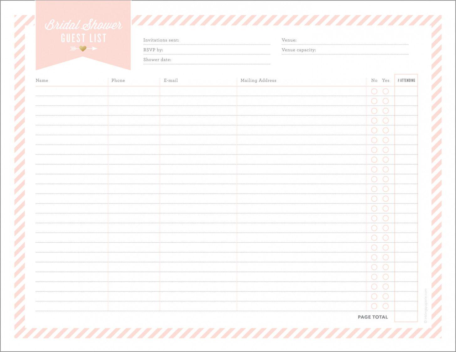 Wedding Guest Checklist Bridal Parties