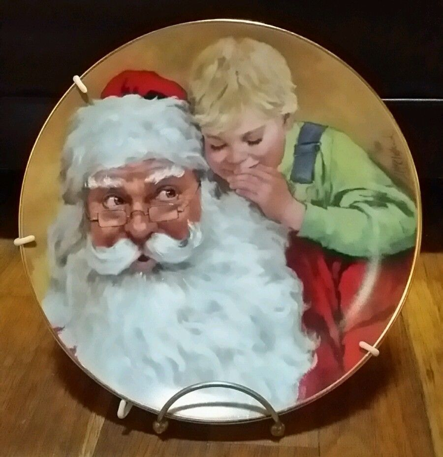 Reco Collector S Plate Quot Santa S Secret Quot Limited Edition By John Mcclelland 2167 Cotton Candy