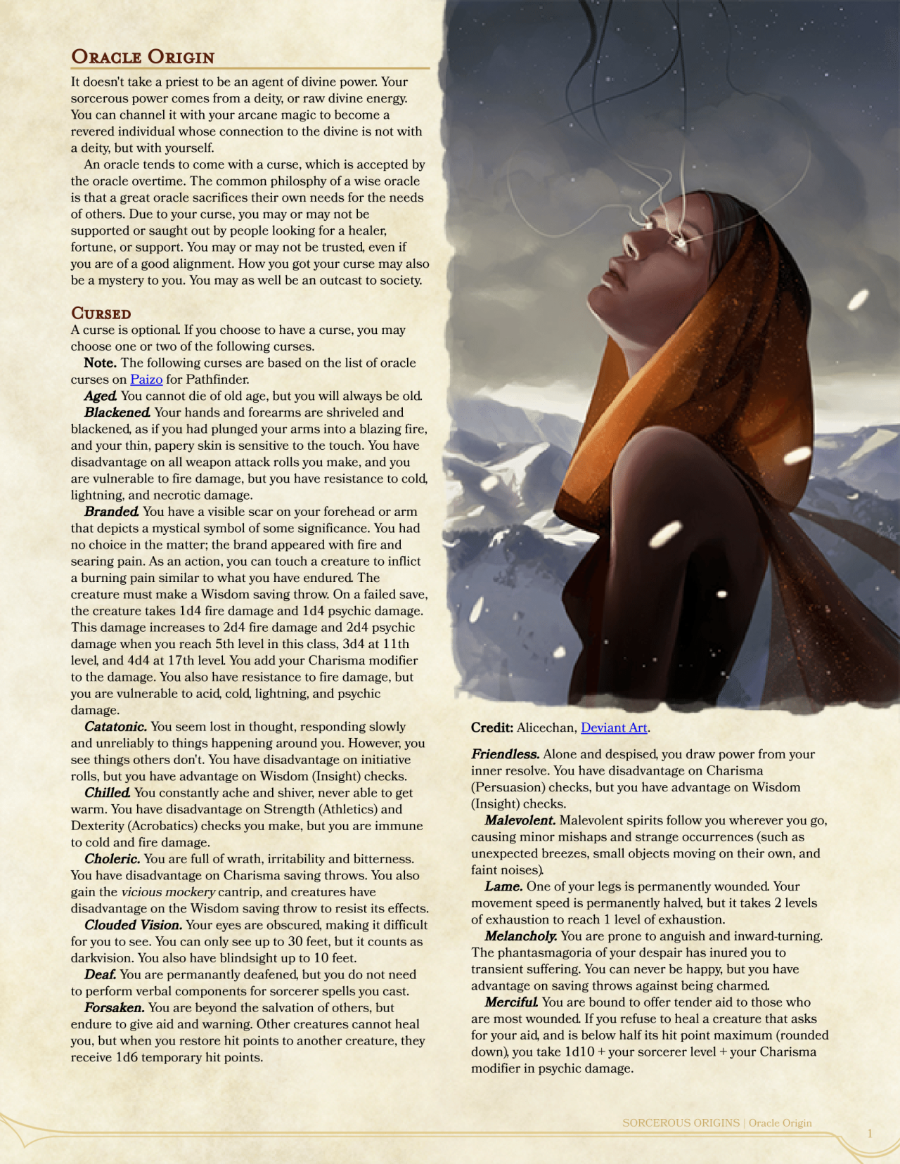 DnD 5e Homebrew — Oracle Origin Sorcerer by Keundt | Homebrew