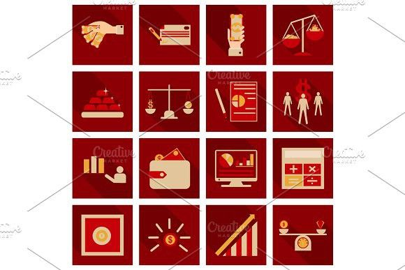 Set of business simple icons Economic concept in flat style with