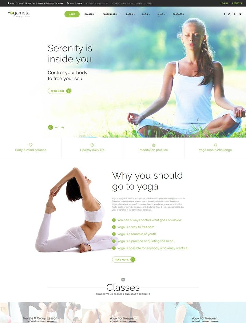 Yogameta Website Template | Web Design | Pinterest