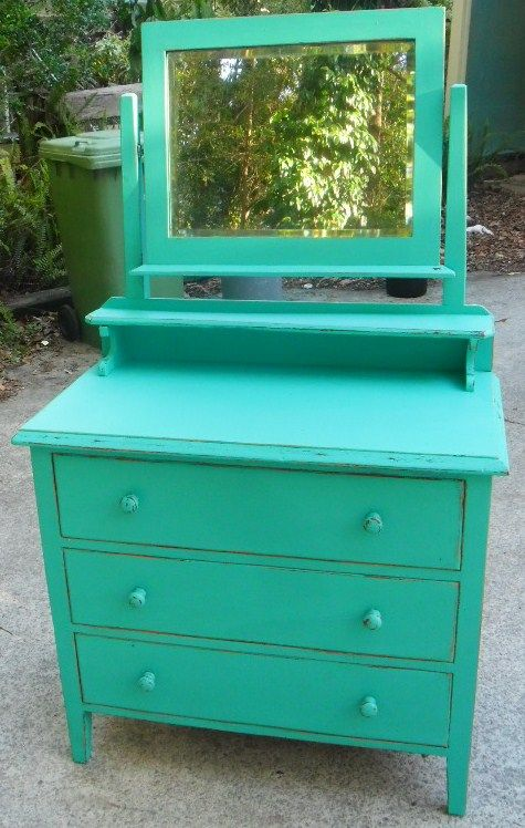 Upcycled Vintage Dresser In Turquoise I Love How The Mirror On This Can