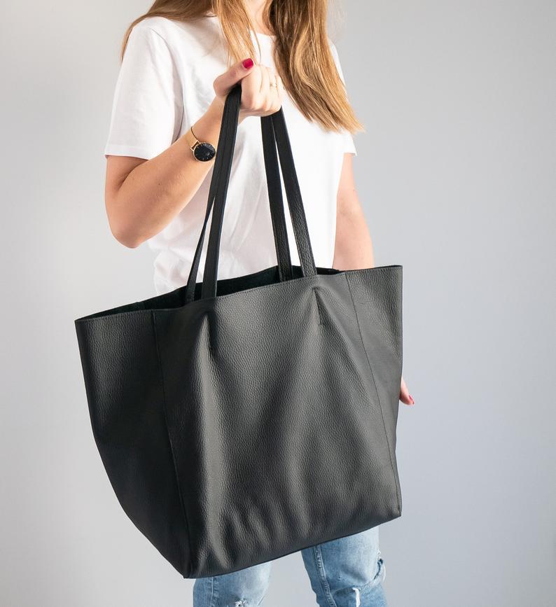 Oversized Tote Bag Black Leather Shopper Soft Leather Etsy Oversized Tote Bag Black Tote Bag Shopper Bag