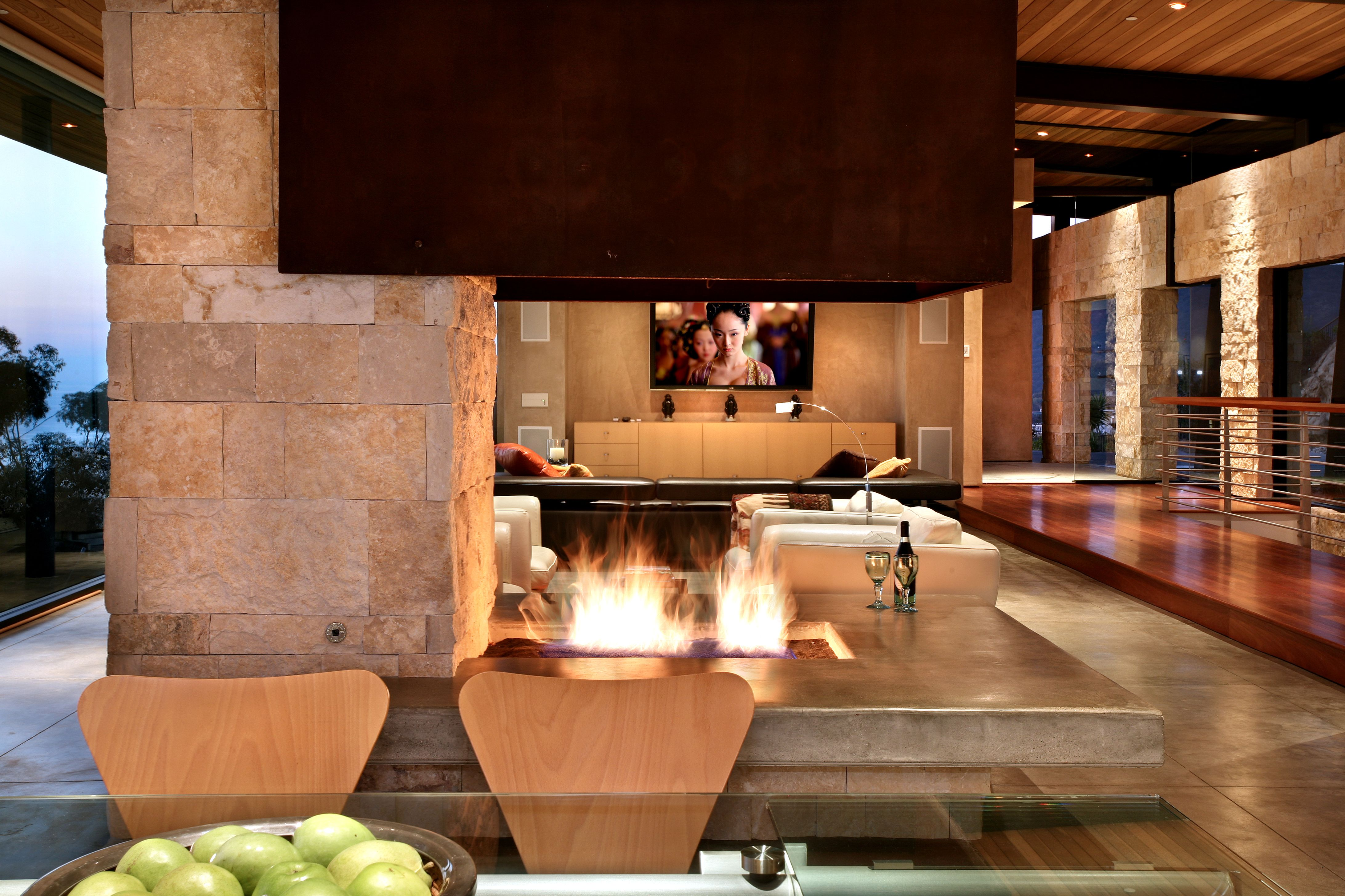 Luxury Living Room Fireplace Design Architecture