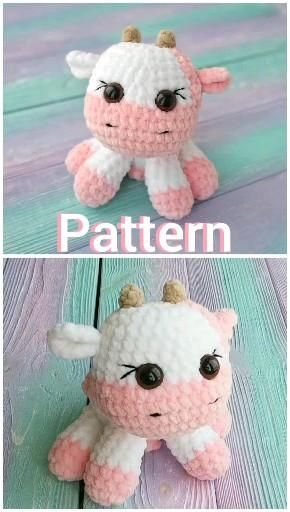 Strawberry Cow Crochet PATTERN Plush, Amigurumi Ka