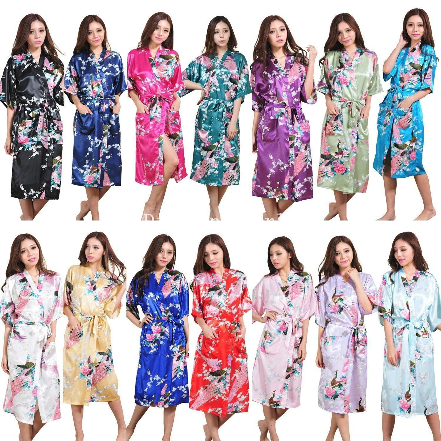 9bc358a373 Wholesale Bridesmaid Peacock Long Kimono Robe Wedding Women Satin Silk  Sleepwear