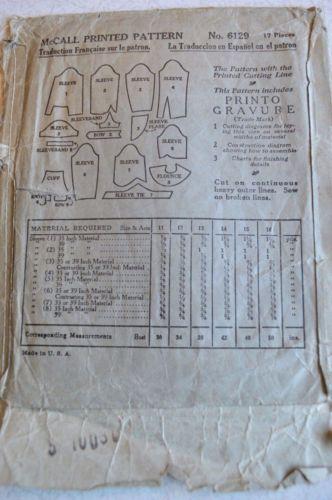 McCall 6129 | 1930 Ladies' & Misses' Set of Sleeves, back envelope