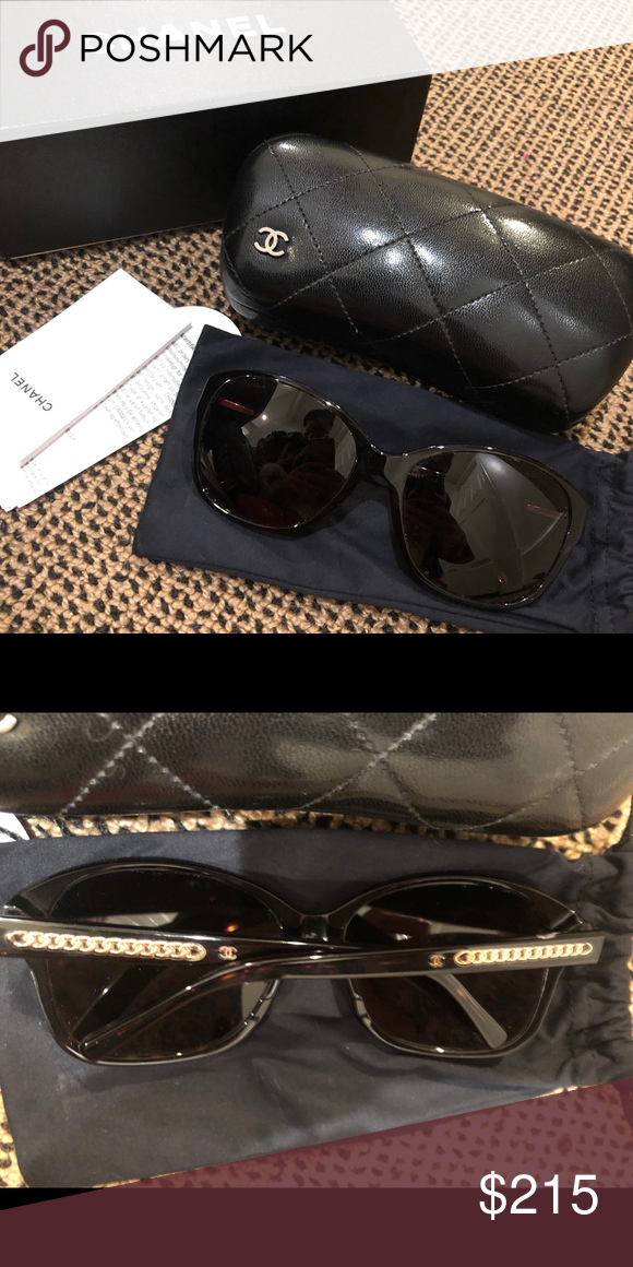 e23c057aa8 GUC Tortoise Chanel Sunglasses GUC Tortoise Chanel Sunglasses with chain  detail on ends. Comes with box and case. Authentic (purchased from sunglass  hut).