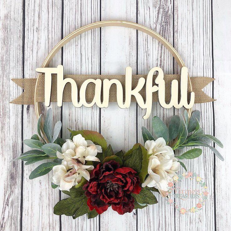 Photo of Beautiful Embroidery Hoop Wreath, Red Peony and Cream Hydrangeas Lamb Ears Hoop Wreath, Wall Gallery Wreath, Thankful Wreath, Mothers Day