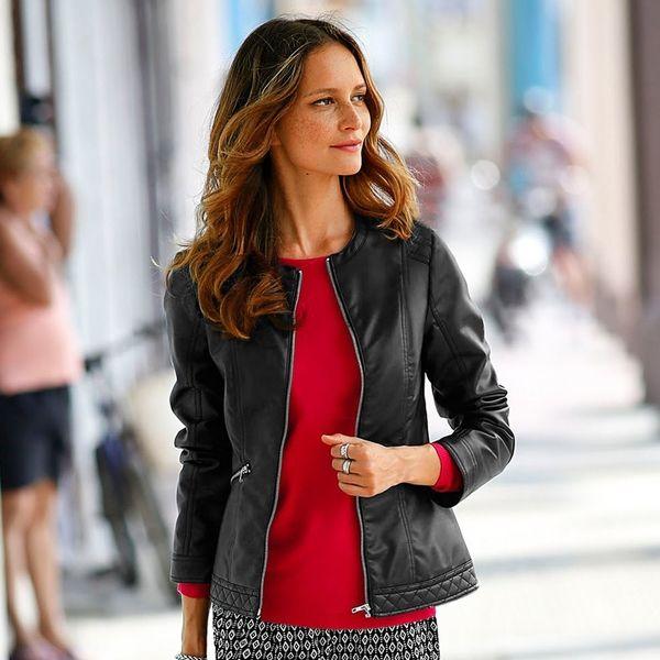 89eb6cc95d Produkty    ŽENY    Oblečenie    Bundy a kabáty    Parky    Blancheporte  Bunda v koženom vzhľade čierna 54 - Produkty