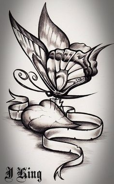 Pin On Butterfly Heart Rose Tattoo Design