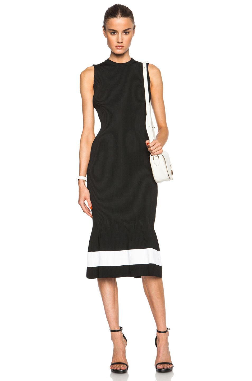 Image 1 Of Victoria Beckham Crewneck Dress In Black White Stripe