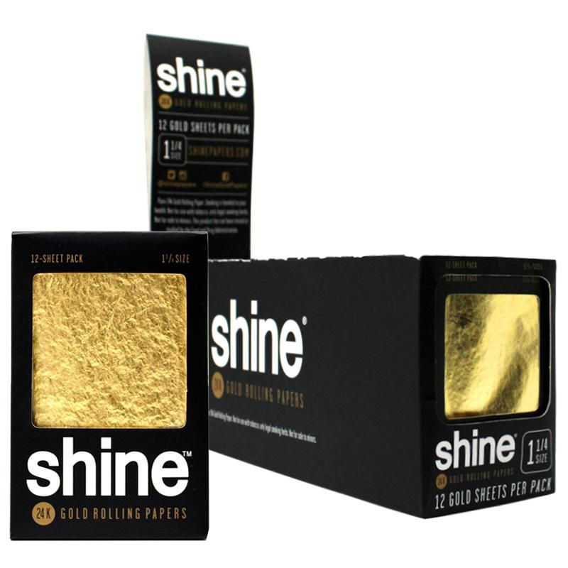 Shine 1 1 4 Size 12 Sheet Pack Gold Rolling Paper Rolling Paper Paper Gold Sheets