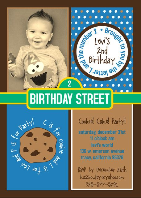 cookie monster birthday party ideas | monster invitations, cookie, Birthday invitations