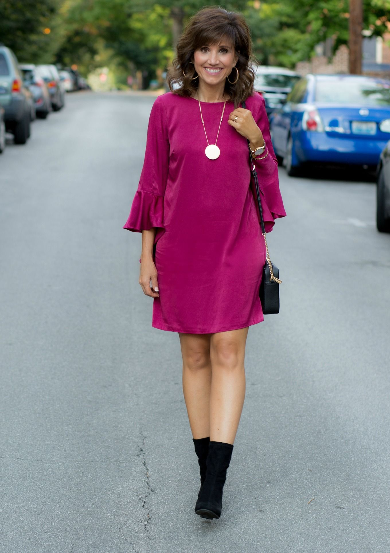 Ruffle Sleeve Dress for a Fall Wedding | Ruffle sleeve dress, Ruffle ...