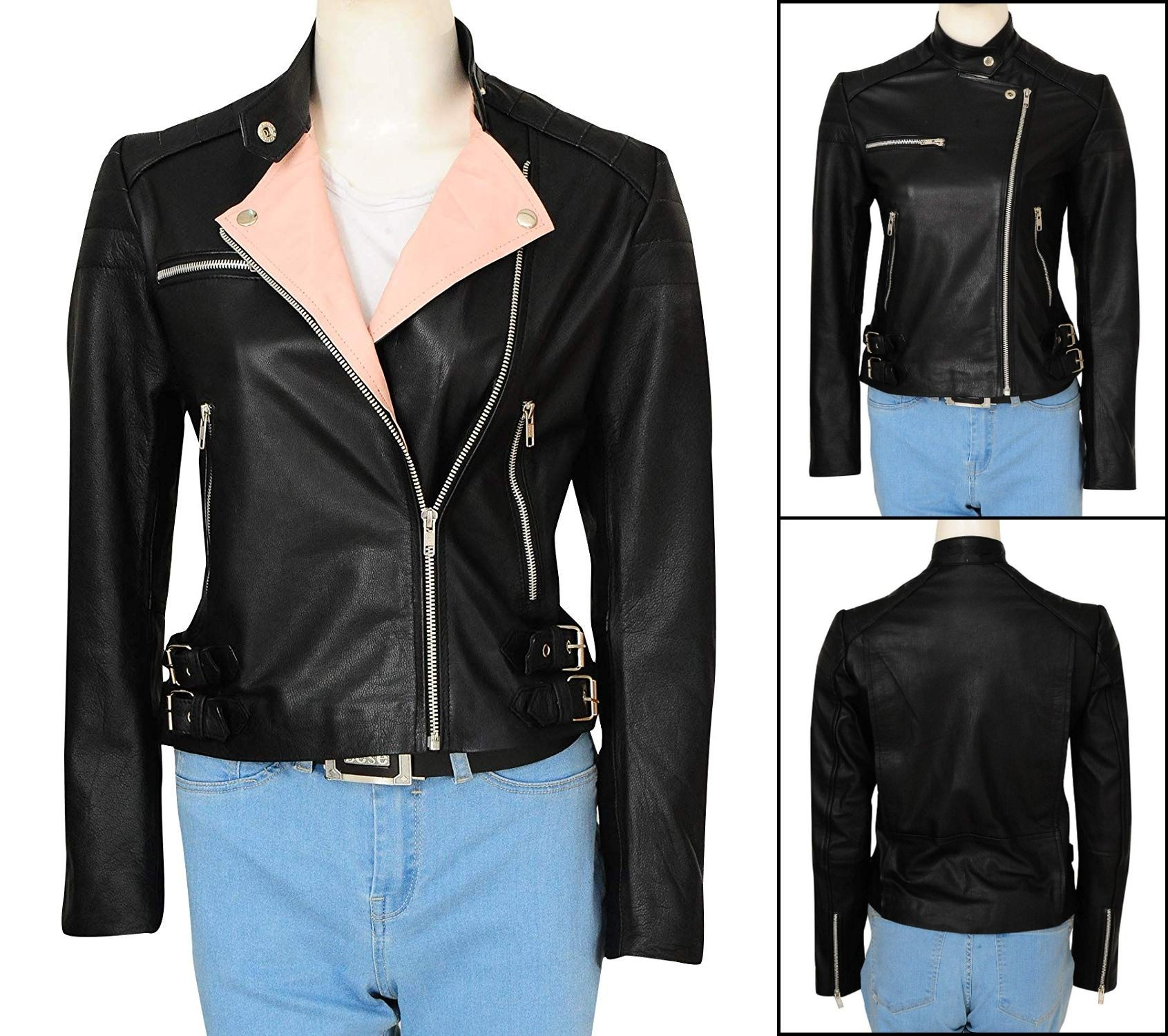 New Women's Fashion Black Padded Sleeves Lambskin Leather
