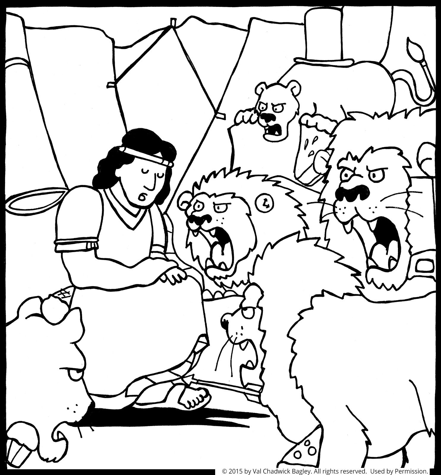 A black and white coloring page of daniel sitting in a den for Daniel and the lions den coloring pages