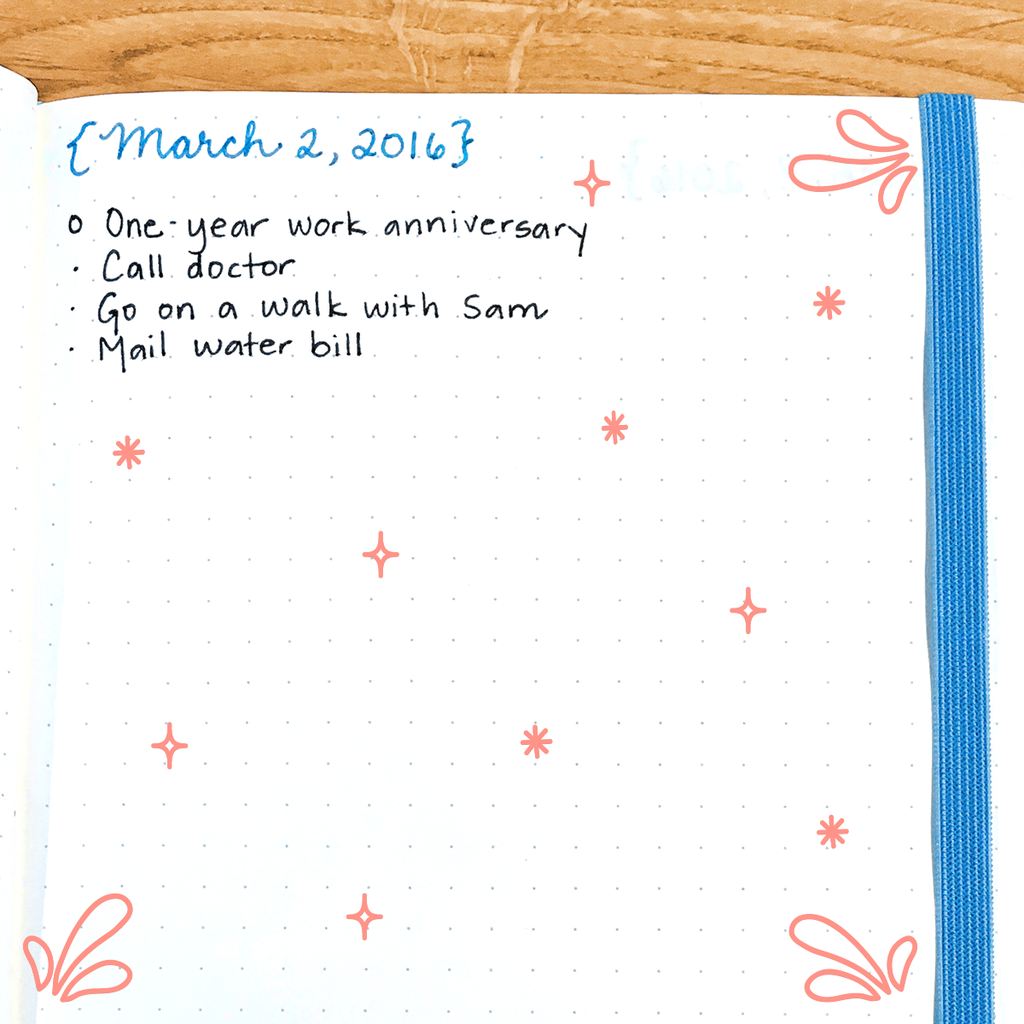 The main idea behind the bullet journal is that you jot down quick notes instead of writing long sentences.