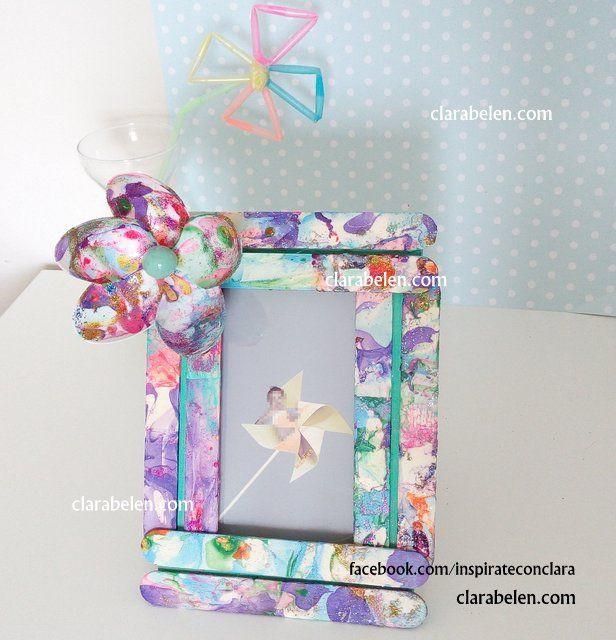 Inspiraciones manualidades y reciclaje marcos con palos - Marcos fotos manualidades ...