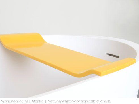 Sinds 1 maart heeft NotOnlyWhite haar collectie uitgebreid met de 2 vrijstaande baden Loop en Axis in wit solid surface materiaal en 3 kleurrijke accessoire collecties Edit, Stripp en Verse in Hi-macs.