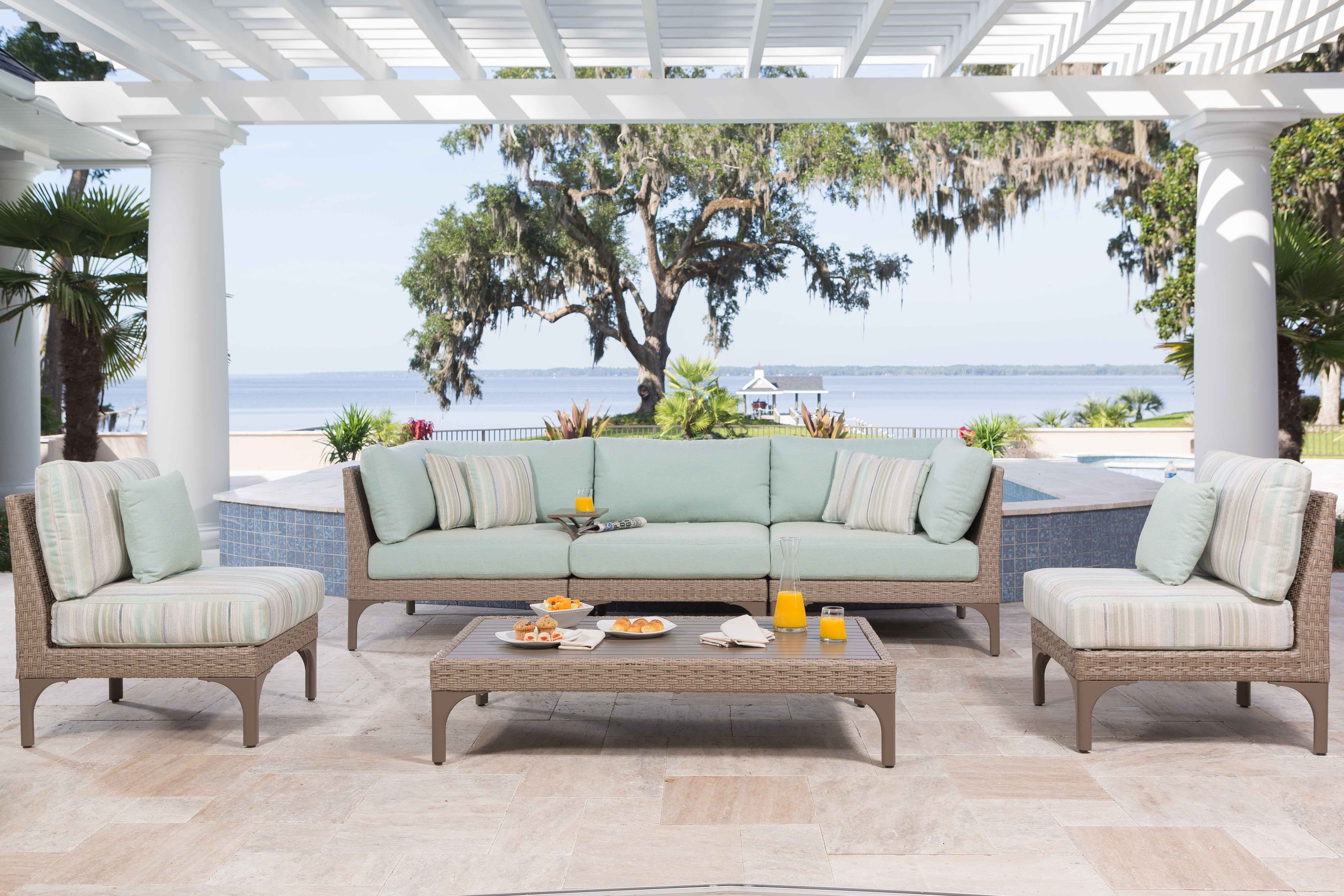 Cool Minty Tones Contrast Against Durable Wicker Frames In Ebel Inc S Calais Collection Cheap Outdoor Furniture Outdoor Furniture Outdoor Patio Furniture