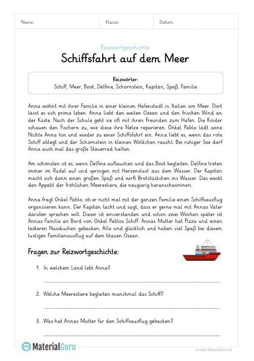ein kostenloses arbeitsblatt zum thema reizwortgeschichten auf dem die sch ler ein beispiel mit. Black Bedroom Furniture Sets. Home Design Ideas