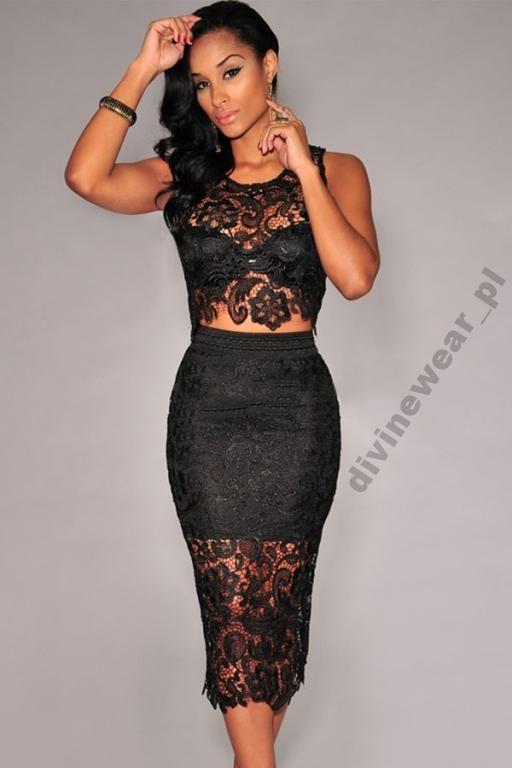 Komplet Zestaw Spodnica Top Bluzka Koronka 40 L 5296150262 Oficjalne Archiwum Allegro Clubwear Black