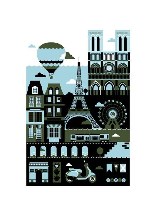 Paris by St. Petersburg freelance illustrator Xenia Bystrova