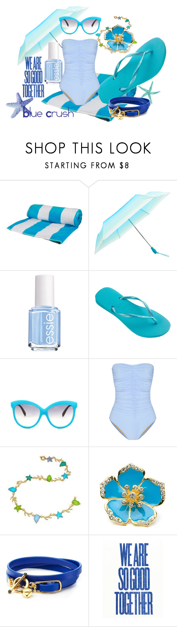 """Blue Crush"" by havaianas-usa ❤ liked on Polyvore featuring Fulton, Essie, Havaianas, Italia Independent, Karla Colletto, Tagliamonte, BaubleBar, Juicy Couture, acetate sunglasses and essie"