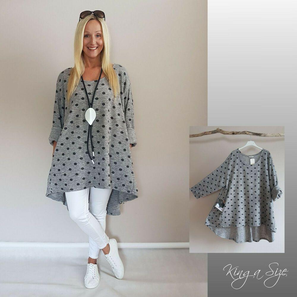 Strick Tunika Kleid Long Pullover Pulli A-Form