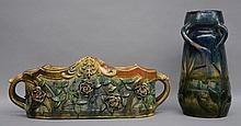 A vase in typical Flemish earthenware, signed Maes - Platteau - Torhout, H 34,5 cm (damage); a similar jadiniere, H 19,5 - B 52 - D 19 cm (damage)