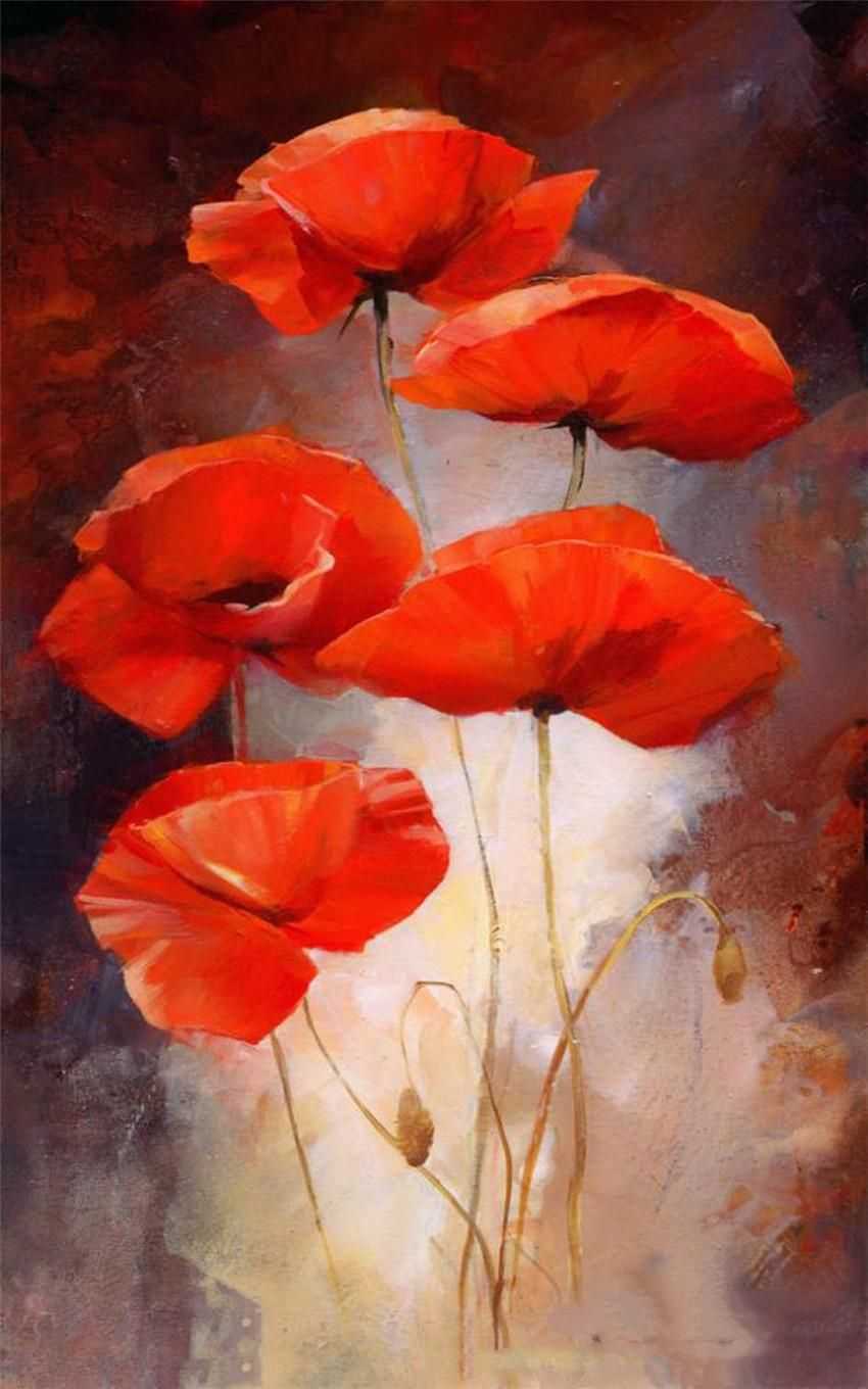 Visit To Buy New 3d Diy Diamond Painting Poppies Flower Red Full