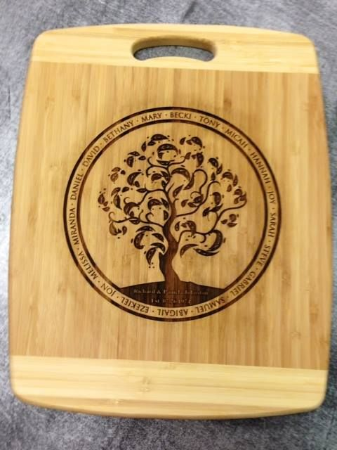 Custom engraved family tree cutting board.