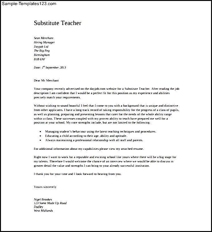 Teacher Cover Letter Pdf Template Free Download Sample Templates