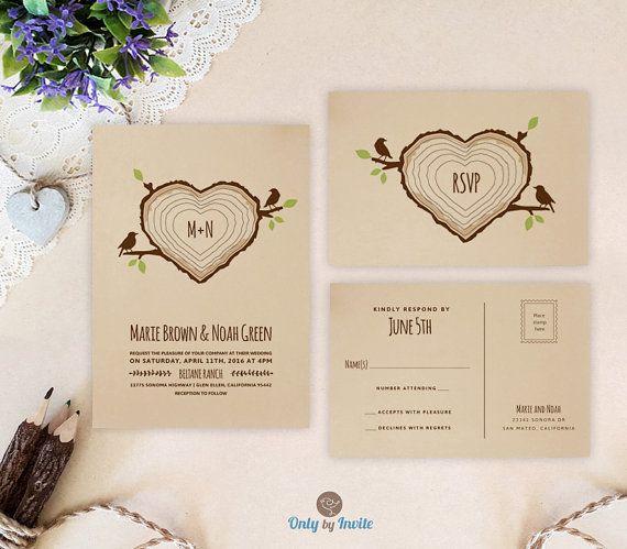 Cheap Printed Wedding Invitations: PRINTED Rustic Wedding Invitation With RSVP