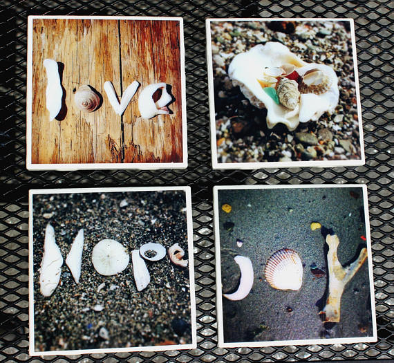 Beach Themed Photo Coasters Set Of 4 Nature Photography Hot Cold Drink Gifts For The Home House Decor Wedding