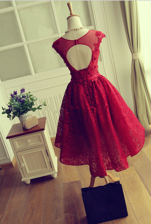 Cute Red Knee-length Red Short Lace Christmas Party Dresses - Thumbnail 1