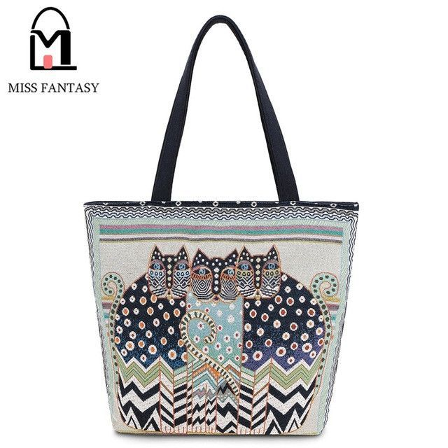 bd19eb3e04 2017 Women Bag Canvas Shoulder Bag Vintage Embroidery Cats Clutch Bag Female  Shopping Bag Travel Summer Beach Bag for Girls